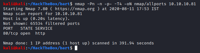 Nmap All Ports Scan